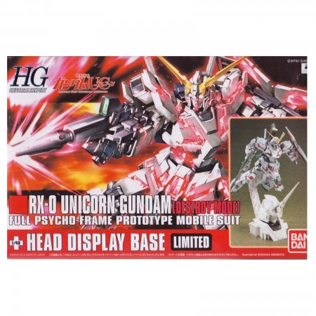 Bandai HG RX-0 Unicorn Gundam (Destroy Mode) + Head Display Base 1/144